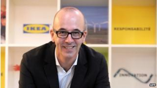 "Belgian Stefan Vanoverbeke, head of French stores Ikea France, a branch of Swedish furniture giant""s Ikea, poses after a press conference in Paris (10 October 2013)"