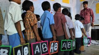 English language is taught at primary schools in India