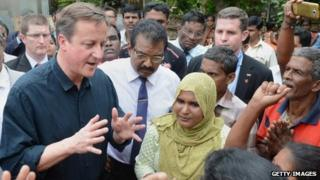 David Cameron visits the Sabapathi Pillay Welfare Centre in Jaffna