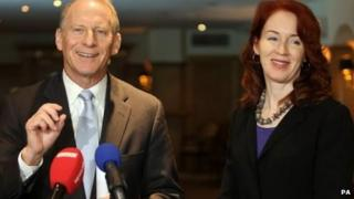 """Dr Richard Haass, with Harvard professor Meghan O""""Sullivan, speaking to the media at the Europa hotel in Belfast"""