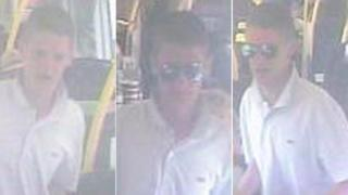 CCTV images of man on train