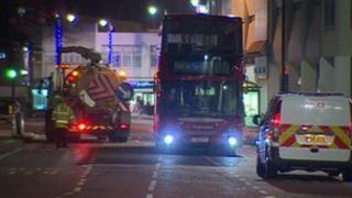 Bus collision scene
