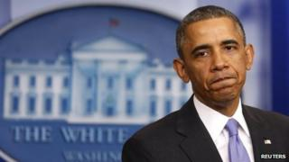 US President Barack Obama appeared at the White House in Washington on 14 November 2013