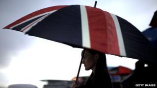 Woman with Union Jack umbrella