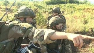 Reservists from the 3rd Battalion of the Royal Anglian Regiment training in Croatia under the supervision of regulars from the 2nd Battalion
