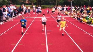 Children running a race