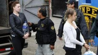 Michaella McCollum escorted into court in Callao, Peru, on 24 September 2013