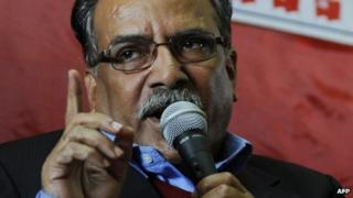 Pushpa Kamal Dahal, also known as Prachanda, speaks during a press conference in Kathmandu on November 21, 2013