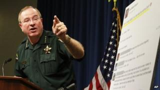 Polk County Sheriff Grady Judd talks about the events leading up to the arrest over the weekend of two juvenile girls in a Florida bullying case at a press conference in Winter Haven, Florida 15 October 2013