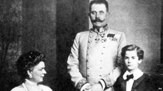 Archduke Franz Ferdinand, Sophie Duchess of Hohenberg and one of their children