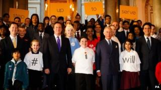 Nick Clegg, David Cameron, Prince Charles, Ed Miliband at the launch of Step Up 2 Serve
