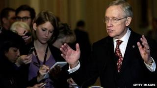 Senate Majority Leader Harry Reid talks to the press on November 19.