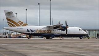 Blue Islands ATR plane at Guernsey Airport