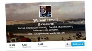 A screengrab of the Twitter profile of Warsan Ismail