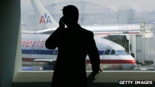 Man on phone at airport