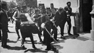 Arrest after shooting of Franz Ferdinand (traditionally thought to be assassin Gavrilo Princip but this is now disputed)