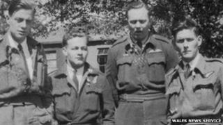 Four members of the crew - from left to right:- Sgt. John Phillips, Flight Sgt. Douglas Tresidder, Flight Sgt. Robert Naffin and Sgt. David Morgan Ellis