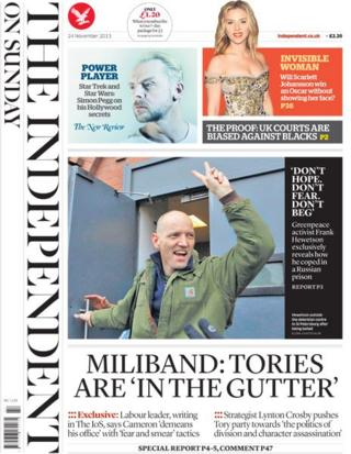 Independent on Sunday front page 24/11/13
