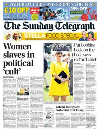 Sunday Telegraph front page 24/11/13