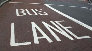 Bus lane on road