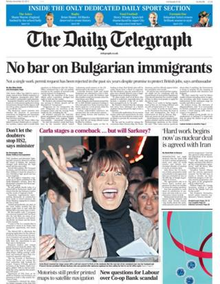 Daily Telegraph front page 25/11/13