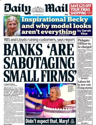 Daily Mail front page 25/11/13