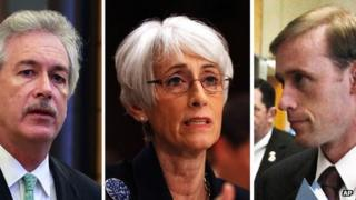 US Deputy Secretary of State William Burns, chief US nuclear negotiator Wendy Sherman and Vice-President Joe Biden's top foreign policy adviser Jake Sullivan