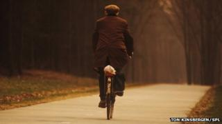 Elderly gentleman cycling