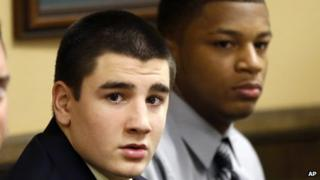 Trent Mays (left) and Ma'lik Richmond (right) appeared in juvenile court in Steubenville, Ohio on 13 March 2013