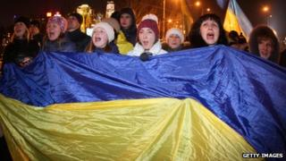 Protesters shout slogans during an opposition rally in the industrial city of Donetsk