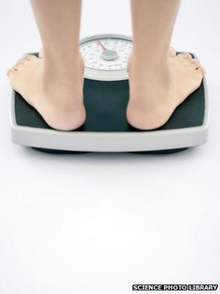 Person standing on scales
