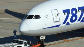 An All Nippon Airways (ANA) Boeing 787 passenger jet at Tokyo's Haneda Airport on 30 October 2013