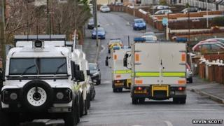 There was a large police and Army presence in Ardoyne during the search