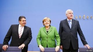 Germany's coalition leaders Sigmar Gabriel, Angela Merkel and Horst Seehofer