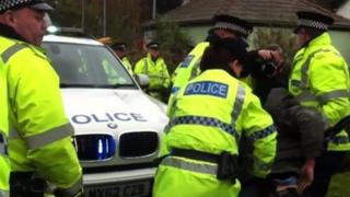 Police at Baron Moss anti-fracking protest