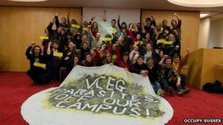 Students occupying University of Sussex