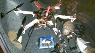 The drone and contraband, copyright Calhoun County Sheriff's Department