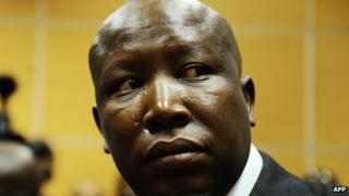 Julius Malema at a court appearance, Johannesburg, 18 September