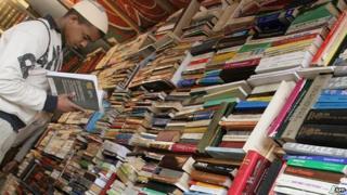 A man reading a Cairo book fair - 2007