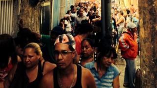 Queue of shoppers