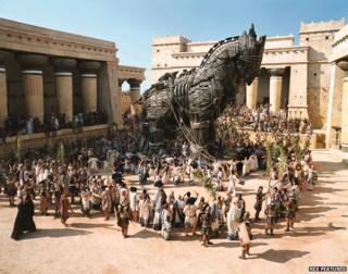 """Scene from 2004 film """"Troy"""" showing Trojan horse"""