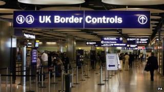 UK Border controls sign at Heathrow Airport