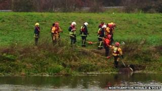 Horse being rescued from River Nene