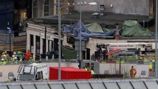 The scene of the helicopter crash in Glasgow