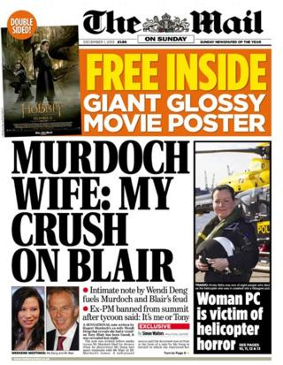 Mail on Sunday front page 1/12/13