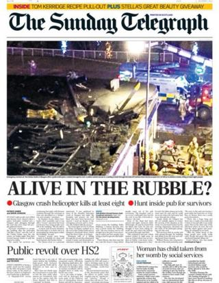 Sunday Telegraph front page 1/12/13