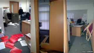 The damage inside Epping St John's School