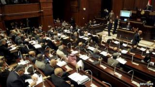 Constituent assembly votes on draft constitution in the Shura Council building in Cairo (1 December 2013)