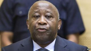 Former Ivorian President Laurent Gbagbo attending a pre-trial hearing on charges of crimes against humanity at the International Criminal Court in The Hague (19 Feb 2013)
