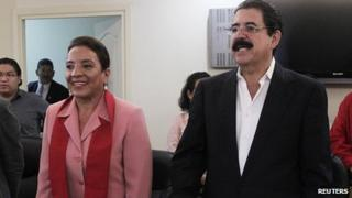 Xiomara Castro and her husband, ousted former leader Manuel Zelaya. 3 Dec 2013